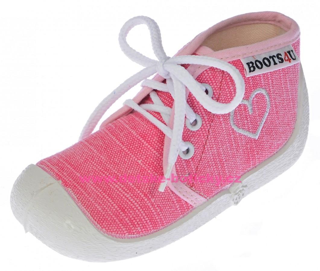 Boots4U T015A pink textil srdce