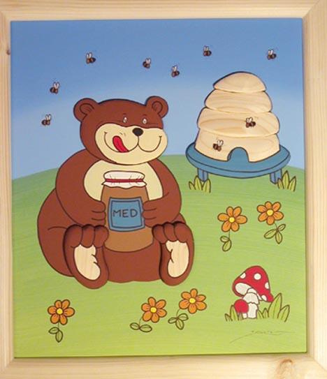 Dřevěný obrázek medvěd