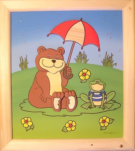 Dřevěný obrázek medvěd a žabka