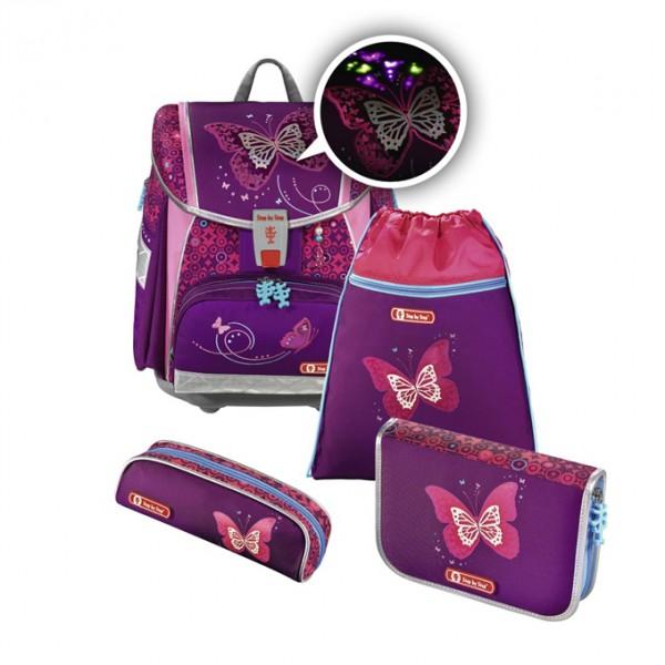 Hama 139131 Školní aktovka - 4-dílný set, Step by Step Flash blikačka Třpytivý motýl, certifikát AGR