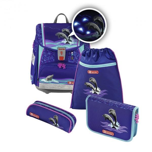 Hama 139132 Školní aktovka pro prvňáčky - 4-dílný set, Step by Step Flash blikačka Delfíni, certifikát AGR