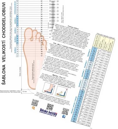 Šablona k měření chodidla barevná laminovaná